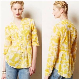 Maeve Sz 6 floral roll sleeve Canary Yellow White